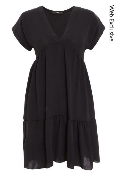 Black V Neck Smock Dress